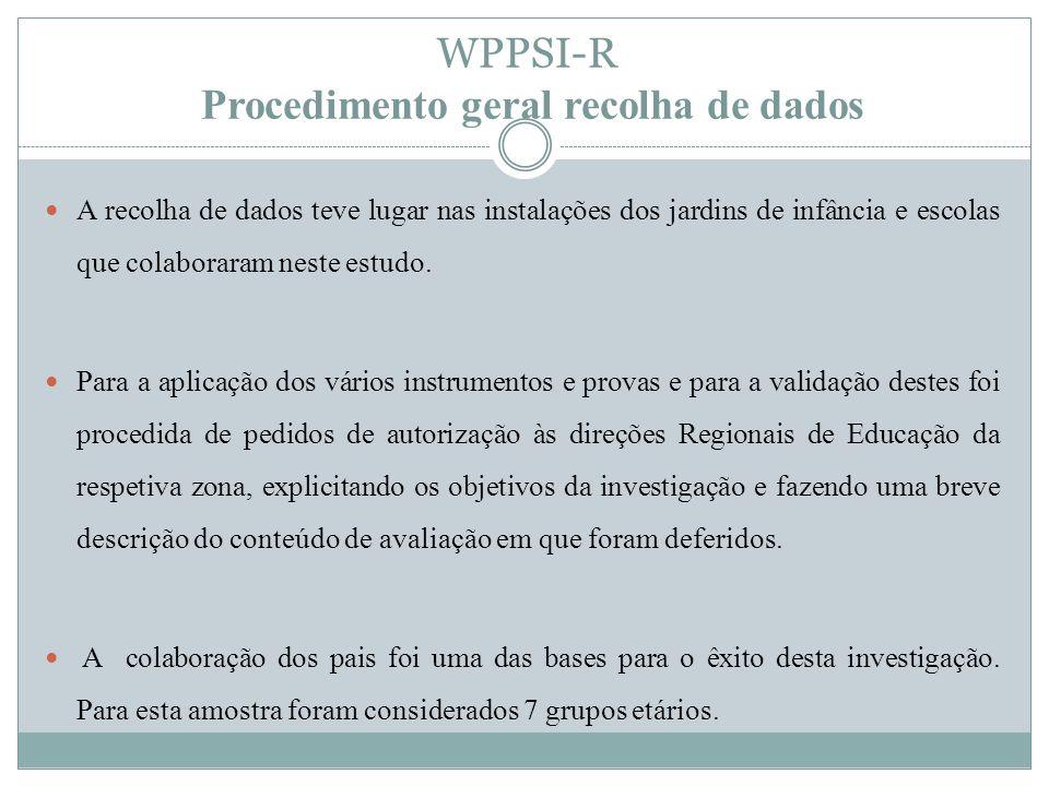 WPPSI-R Critérios de Cotação AWPPSI-R, versão portuguesa, foi concebida para ser realizada com crianças dos 3 anos aos 6 anos e 6 meses de idades.