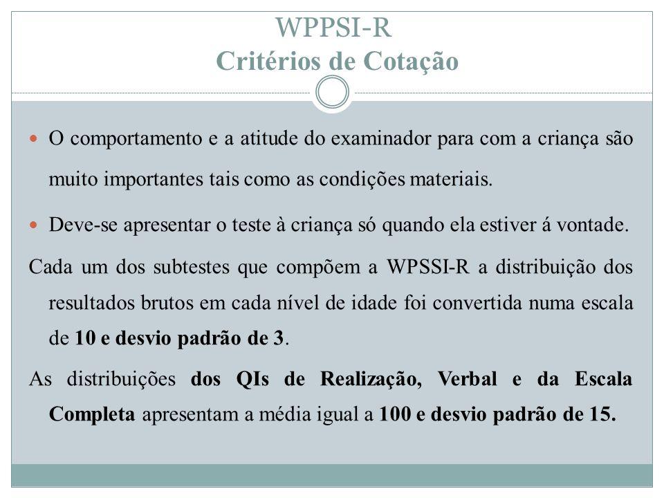 WPPSI-R Critérios de Cotação O comportamento e a atitude do examinador para com a criança são muito importantes tais como as condições materiais. Deve