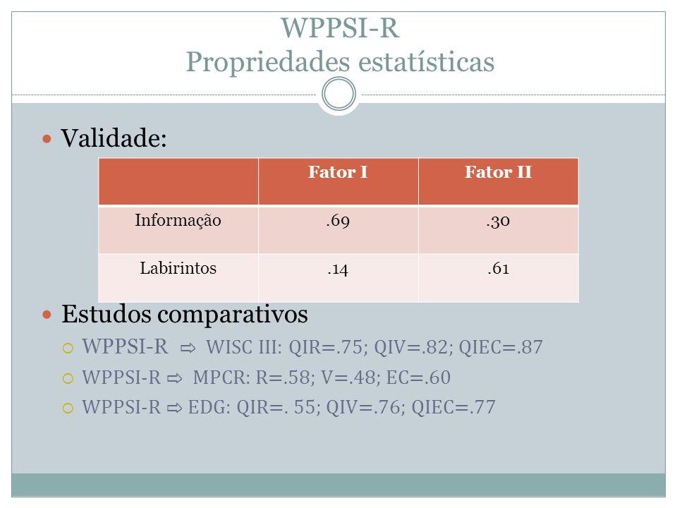 WPPSI-R Propriedades estatísticas (cont.)  WPPSI-R ⇨ Apreciação das educadoras  (5 anos)- R=.41; V=.35; EC=.44  (6 anos)- R=.54; V=.73; EC=.70 Estudos com grupos especiais  Dificuldades escolares (leitura, escrita / cálculo)  Risco ambiental  Inteligência superior  Candidatos a antecipação escolar Referência Bibliográfica: Wescheler, D.
