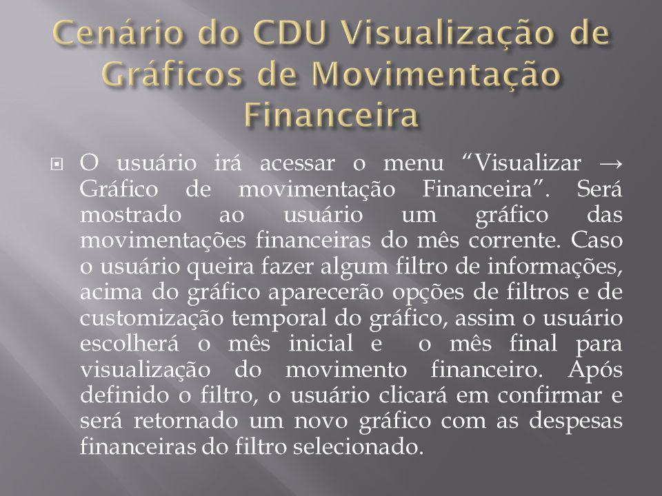 """ O usuário irá acessar o menu """"Visualizar → Gráfico de movimentação Financeira"""". Será mostrado ao usuário um gráfico das movimentações financeiras do"""