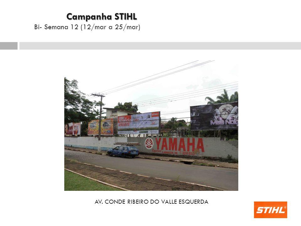 AV. CONDE RIBEIRO DO VALLE ESQUERDA Campanha STIHL Campanha STIHL Bi- Semana 12 (12/mar a 25/mar)