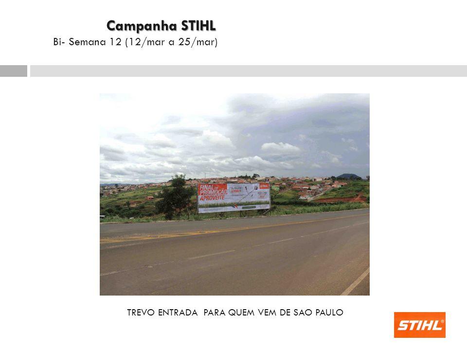 TREVO ENTRADA PARA QUEM VEM DE SAO PAULO Campanha STIHL Campanha STIHL Bi- Semana 12 (12/mar a 25/mar)