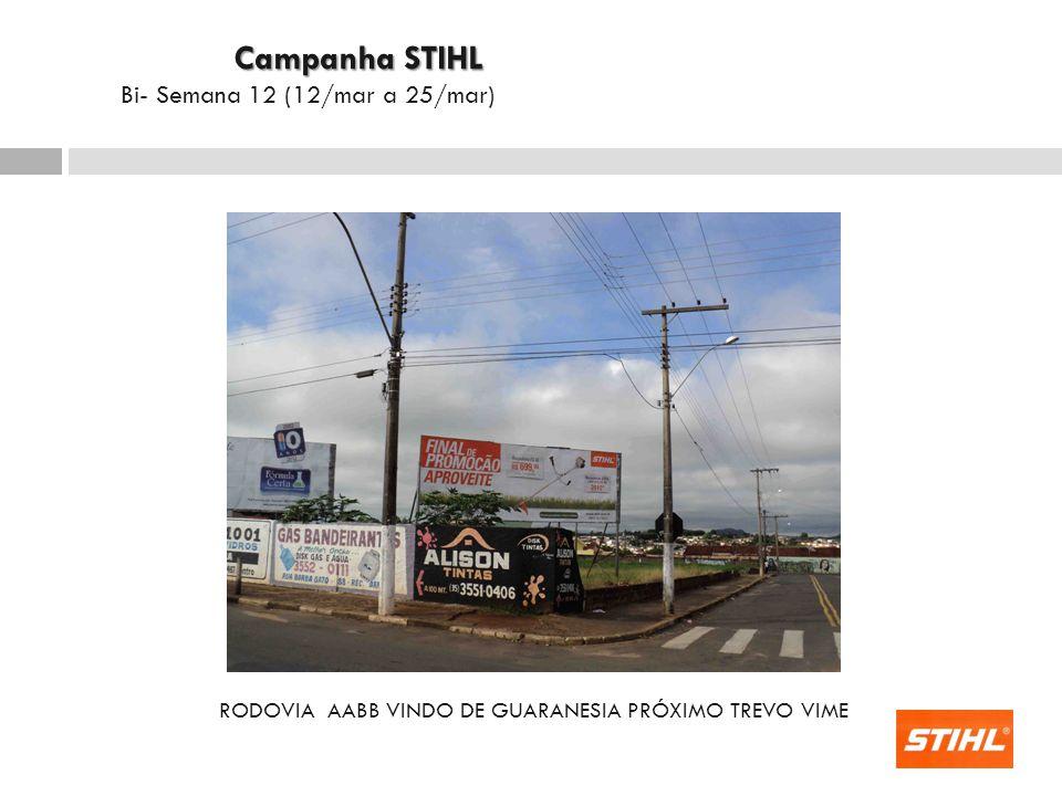RODOVIA AABB VINDO DE GUARANESIA PRÓXIMO TREVO VIME Campanha STIHL Campanha STIHL Bi- Semana 12 (12/mar a 25/mar)
