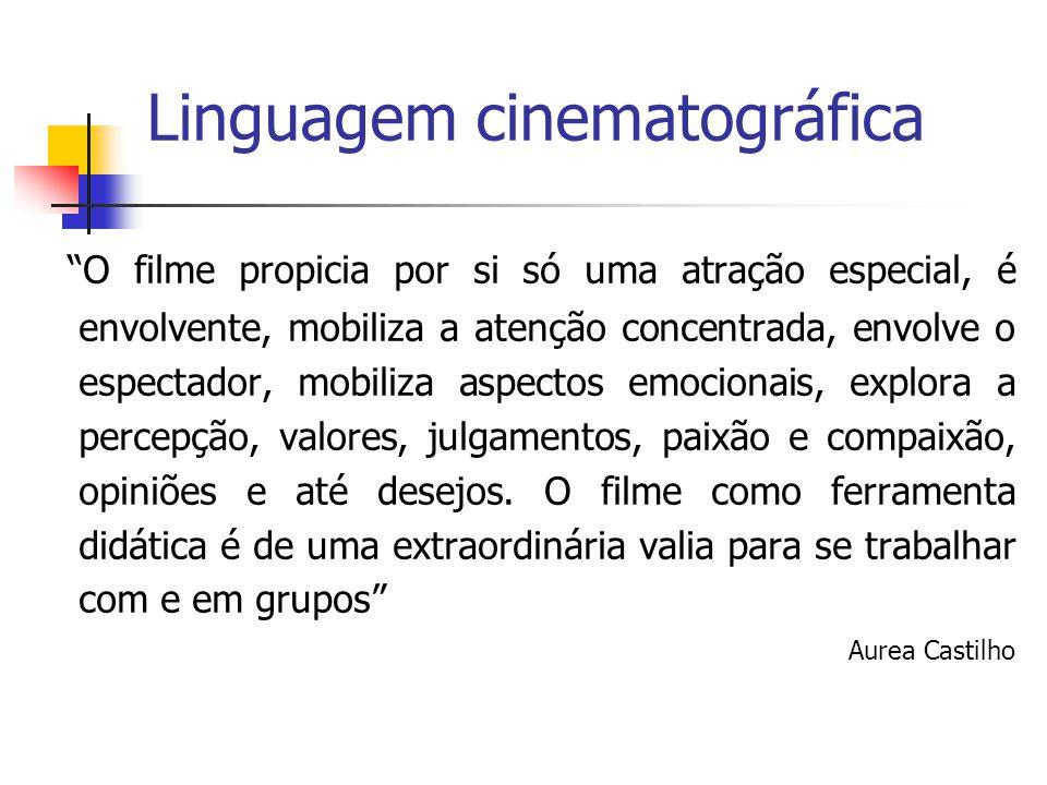 """Linguagem cinematográfica """"O filme propicia por si só uma atração especial, é envolvente, mobiliza a atenção concentrada, envolve o espectador, mobili"""