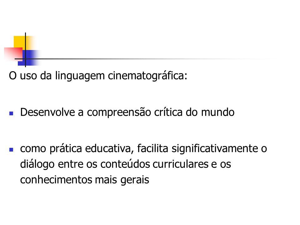 O filme pode ser utilizado como: meio para introduzir ou desenvolver um tema gerador Tornar o próprio filme, a aula, ou o projeto a ser desenvolvido Desencadeador de conteúdos curriculares