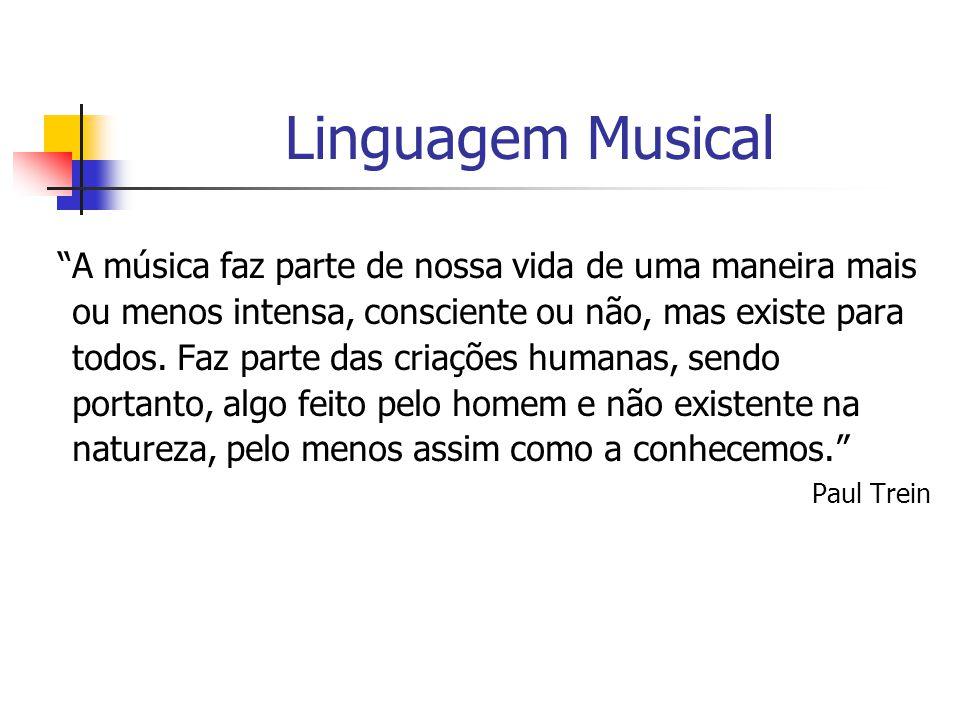 """Linguagem Musical """"A música faz parte de nossa vida de uma maneira mais ou menos intensa, consciente ou não, mas existe para todos. Faz parte das cria"""