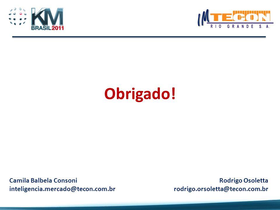 Obrigado! Camila Balbela Consoni inteligencia.mercado@tecon.com.br Rodrigo Osoletta rodrigo.orsoletta@tecon.com.br