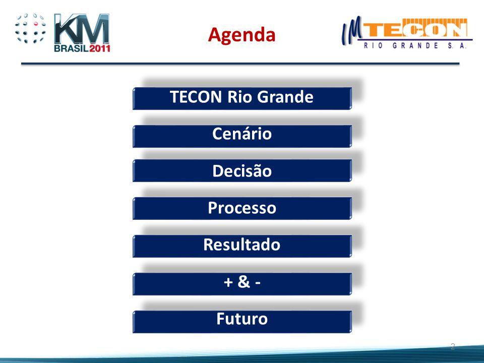 TECON Rio Grande Cenário Decisão Processo Resultado + & - Futuro 2 Agenda