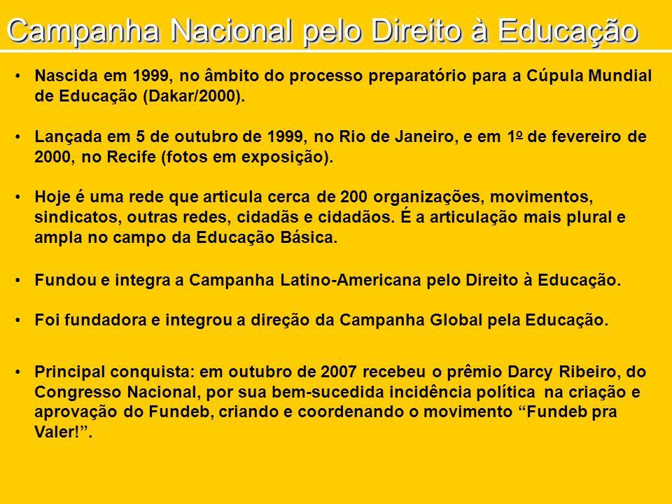 Campanha Nacional pelo Direito à Educação Nascida em 1999, no âmbito do processo preparatório para a Cúpula Mundial de Educação (Dakar/2000). Lançada