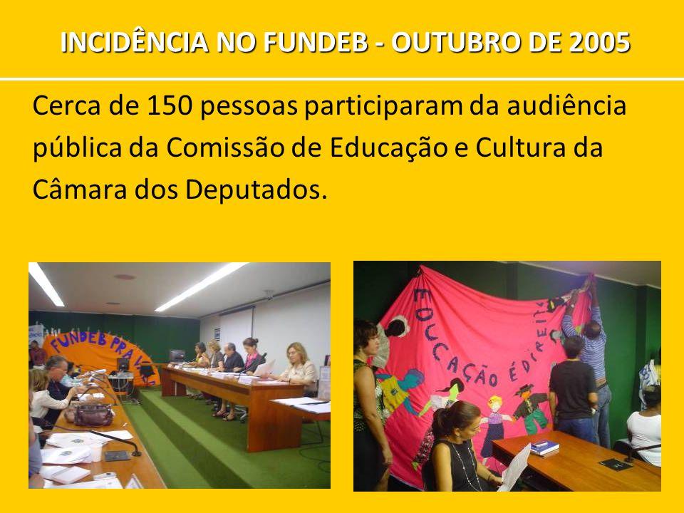 Cerca de 150 pessoas participaram da audiência pública da Comissão de Educação e Cultura da Câmara dos Deputados. INCIDÊNCIA NO FUNDEB - OUTUBRO DE 20