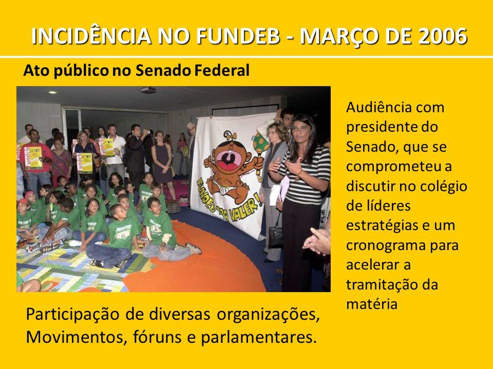 Ato público no Senado Federal Participação de diversas organizações, Movimentos, fóruns e parlamentares. Audiência com presidente do Senado, que se co