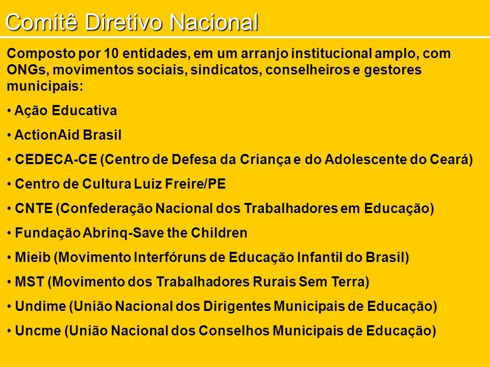 Comitê Diretivo Nacional Composto por 10 entidades, em um arranjo institucional amplo, com ONGs, movimentos sociais, sindicatos, conselheiros e gestor