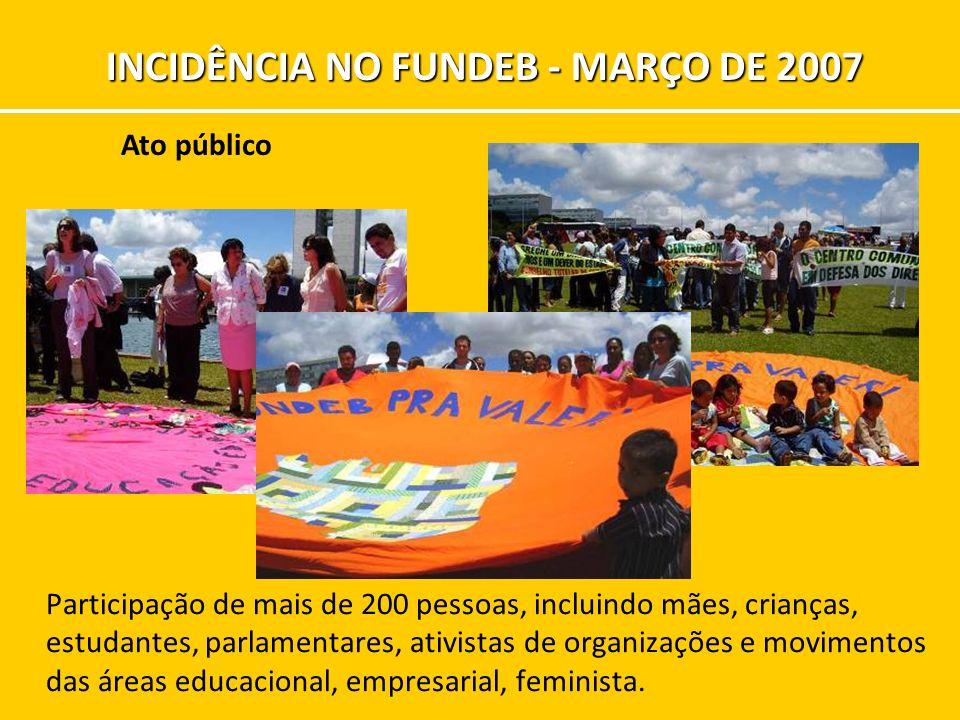 Participação de mais de 200 pessoas, incluindo mães, crianças, estudantes, parlamentares, ativistas de organizações e movimentos das áreas educacional, empresarial, feminista.