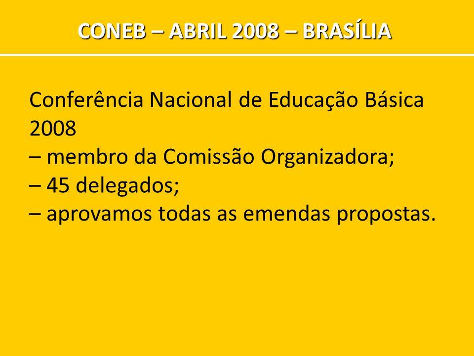 CONEB – ABRIL 2008 – BRASÍLIA Conferência Nacional de Educação Básica 2008 – membro da Comissão Organizadora; – 45 delegados; – aprovamos todas as eme