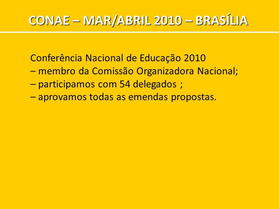 CONAE – MAR/ABRIL 2010 – BRASÍLIA Conferência Nacional de Educação 2010 – membro da Comissão Organizadora Nacional; – participamos com 54 delegados ;