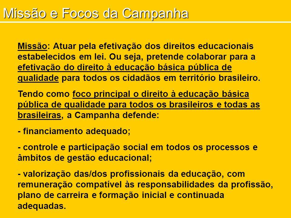Missão e Focos da Campanha Missão: Atuar pela efetivação dos direitos educacionais estabelecidos em lei. Ou seja, pretende colaborar para a efetivação