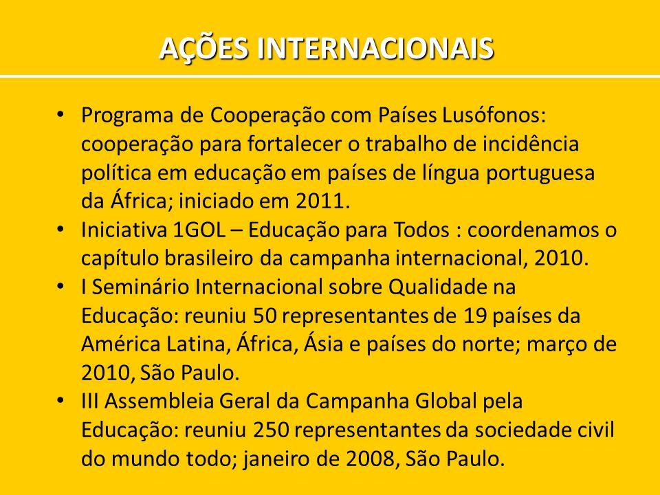 AÇÕES INTERNACIONAIS Programa de Cooperação com Países Lusófonos: cooperação para fortalecer o trabalho de incidência política em educação em países de língua portuguesa da África; iniciado em 2011.