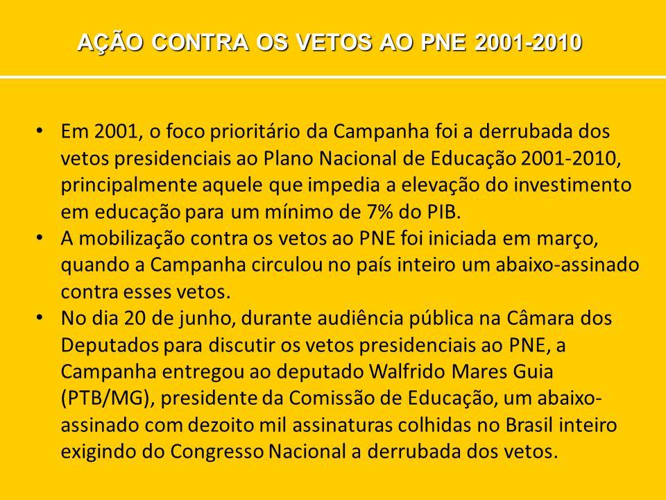 AÇÃO CONTRA OS VETOS AO PNE 2001-2010 Em 2001, o foco prioritário da Campanha foi a derrubada dos vetos presidenciais ao Plano Nacional de Educação 2001-2010, principalmente aquele que impedia a elevação do investimento em educação para um mínimo de 7% do PIB.