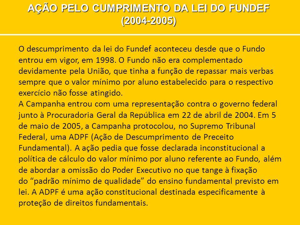 AÇÃO PELO CUMPRIMENTO DA LEI DO FUNDEF (2004-2005) O descumprimento da lei do Fundef aconteceu desde que o Fundo entrou em vigor, em 1998. O Fundo não