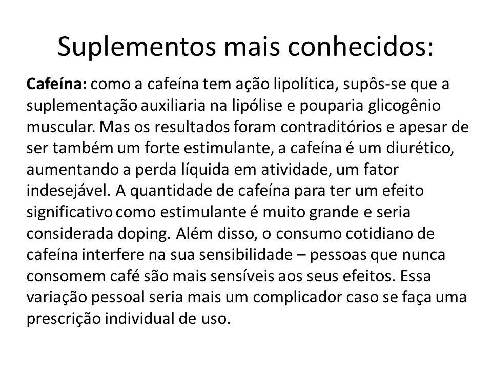 Suplementos mais conhecidos: Cafeína: como a cafeína tem ação lipolítica, supôs-se que a suplementação auxiliaria na lipólise e pouparia glicogênio mu