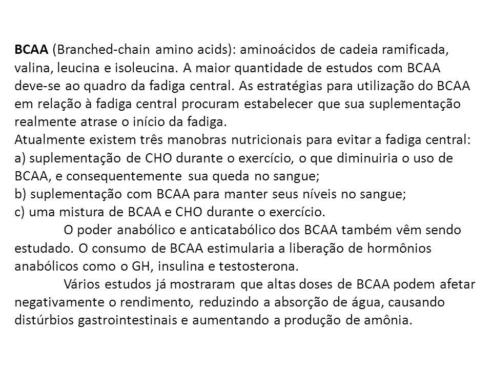 BCAA (Branched-chain amino acids): aminoácidos de cadeia ramificada, valina, leucina e isoleucina. A maior quantidade de estudos com BCAA deve-se ao q