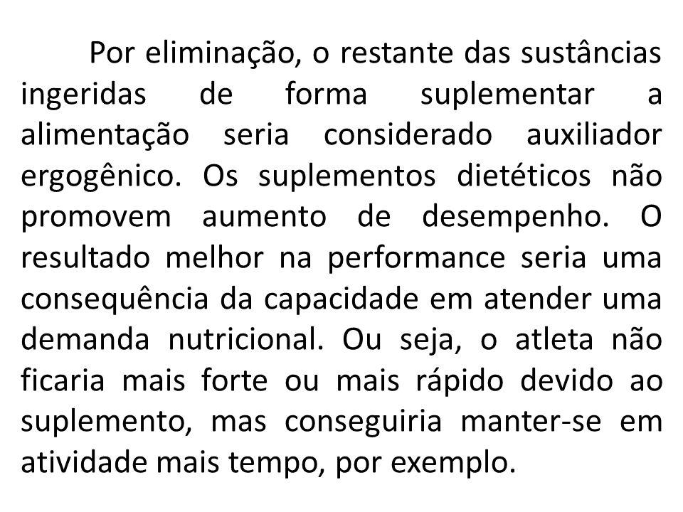 Por eliminação, o restante das sustâncias ingeridas de forma suplementar a alimentação seria considerado auxiliador ergogênico. Os suplementos dietéti