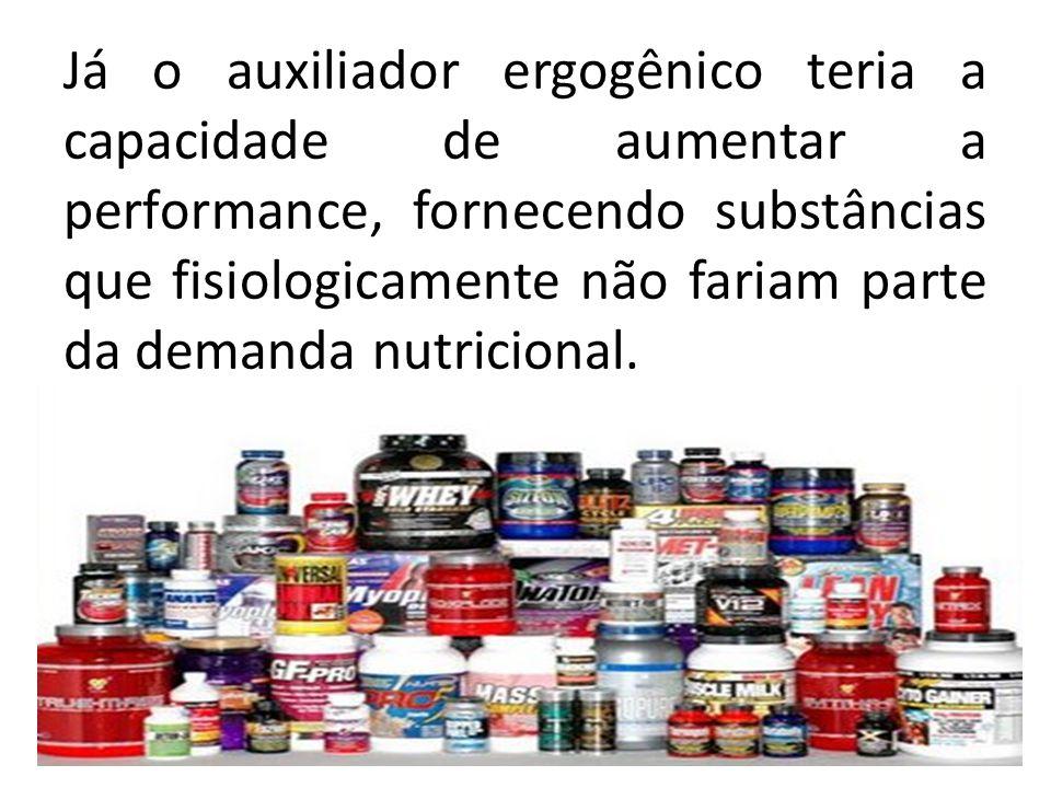Já o auxiliador ergogênico teria a capacidade de aumentar a performance, fornecendo substâncias que fisiologicamente não fariam parte da demanda nutri