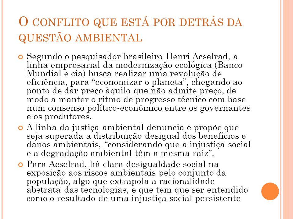 O CONFLITO QUE ESTÁ POR DETRÁS DA QUESTÃO AMBIENTAL Segundo o pesquisador brasileiro Henri Acselrad, a linha empresarial da modernização ecológica (Ba