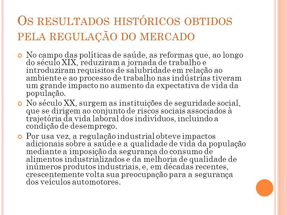 O S RESULTADOS HISTÓRICOS OBTIDOS PELA REGULAÇÃO DO MERCADO No campo das políticas de saúde, as reformas que, ao longo do século XIX, reduziram a jorn