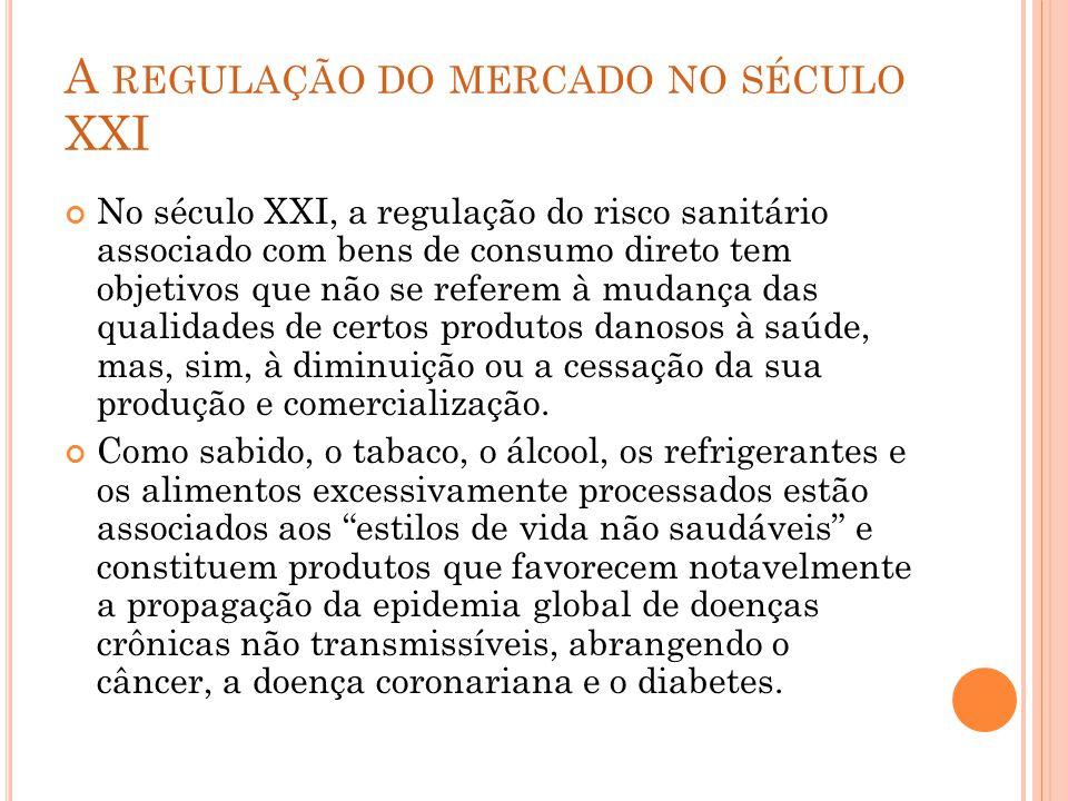 A REGULAÇÃO DO MERCADO NO SÉCULO XXI No século XXI, a regulação do risco sanitário associado com bens de consumo direto tem objetivos que não se refer