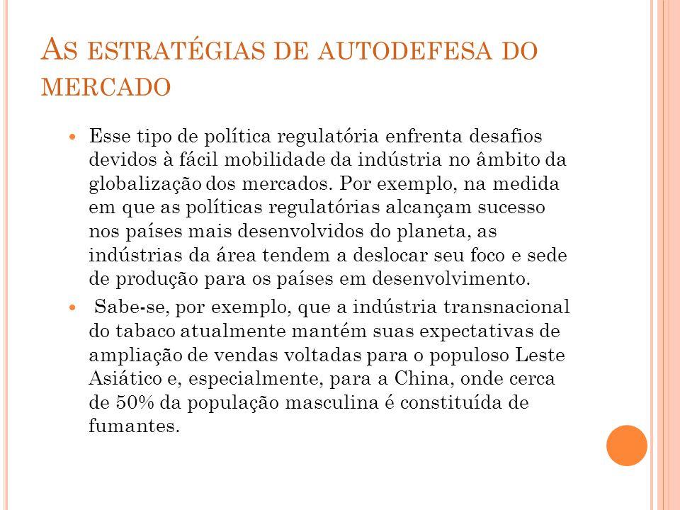 A S ESTRATÉGIAS DE AUTODEFESA DO MERCADO Esse tipo de política regulatória enfrenta desafios devidos à fácil mobilidade da indústria no âmbito da globalização dos mercados.