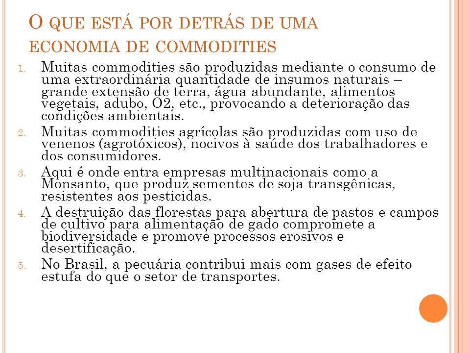 A PRINCIPAL CONTRADIÇÃO DO DESENVOLVIMENTO BRASILEIRO, HOJE O Brasil se destaca mundialmente como: Celeiro (alimentos) Mina (carvão e metais) Poço (petróleo) =COMMODITIES PARA EXPORTAÇÃO Mas se destaca também pela biodiversidade e pela beleza natural da Amazônia e de outras regiões = NATUREZA COMO QUALIDADE DE VIDA Como compatibilizar ISTO com ISTO?