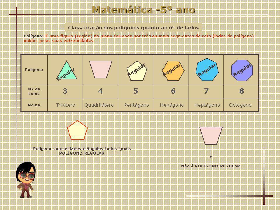 Classificação dos polígonos quanto ao nº de lados Polígono: É uma figura (região) do plano formada por três ou mais segmentos de reta (lados do polígono) unidos pelas suas extremidades.