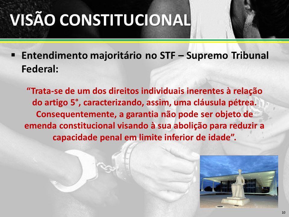VISÃO CONSTITUCIONAL  Entendimento majoritário no STF – Supremo Tribunal Federal: 10 Trata-se de um dos direitos individuais inerentes à relação do artigo 5°, caracterizando, assim, uma cláusula pétrea.
