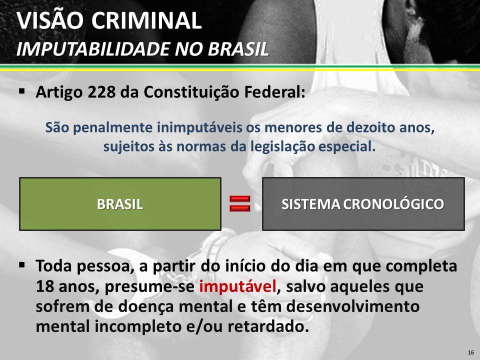 VISÃO CRIMINAL IMPUTABILIDADE NO BRASIL  Artigo 228 da Constituição Federal: 16 São penalmente inimputáveis os menores de dezoito anos, sujeitos às normas da legislação especial.