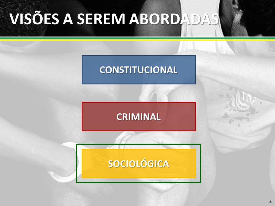VISÕES A SEREM ABORDADAS 18 CONSTITUCIONAL CRIMINAL SOCIOLÓGICA