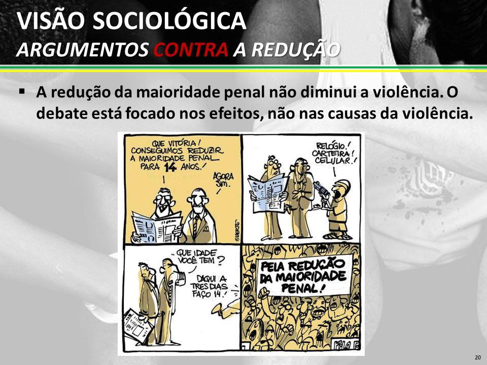 VISÃO SOCIOLÓGICA ARGUMENTOS CONTRA A REDUÇÃO  A redução da maioridade penal não diminui a violência.