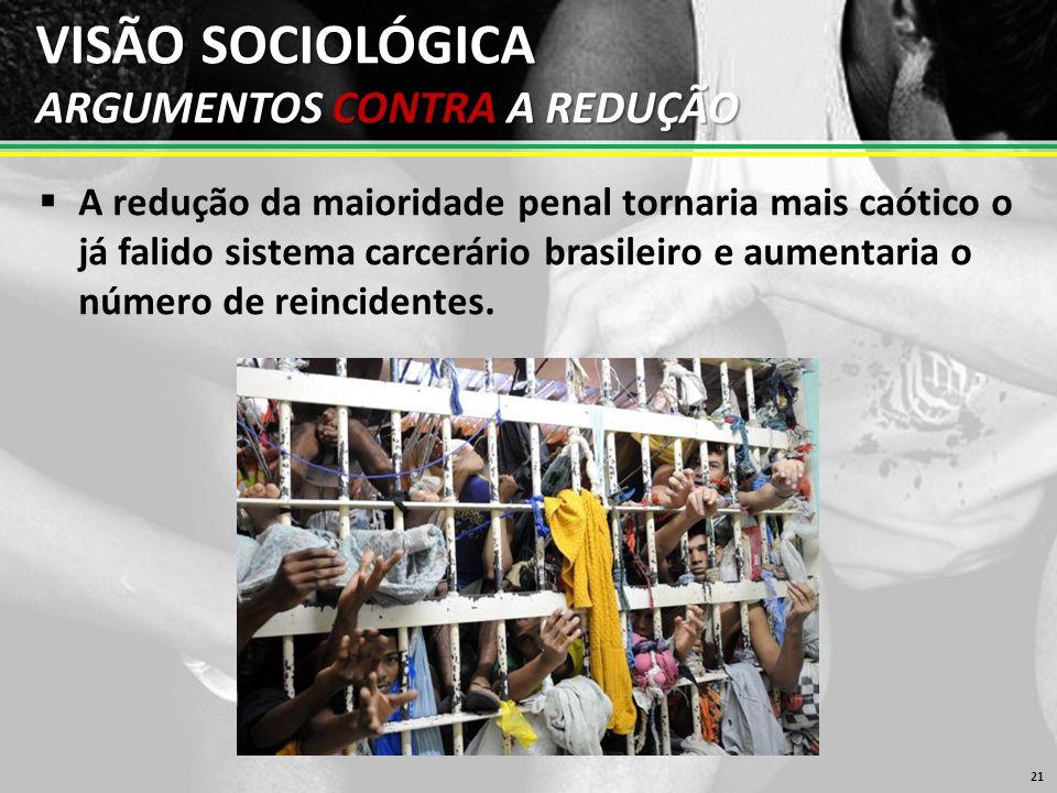 VISÃO SOCIOLÓGICA ARGUMENTOS CONTRA A REDUÇÃO  A redução da maioridade penal tornaria mais caótico o já falido sistema carcerário brasileiro e aumentaria o número de reincidentes.