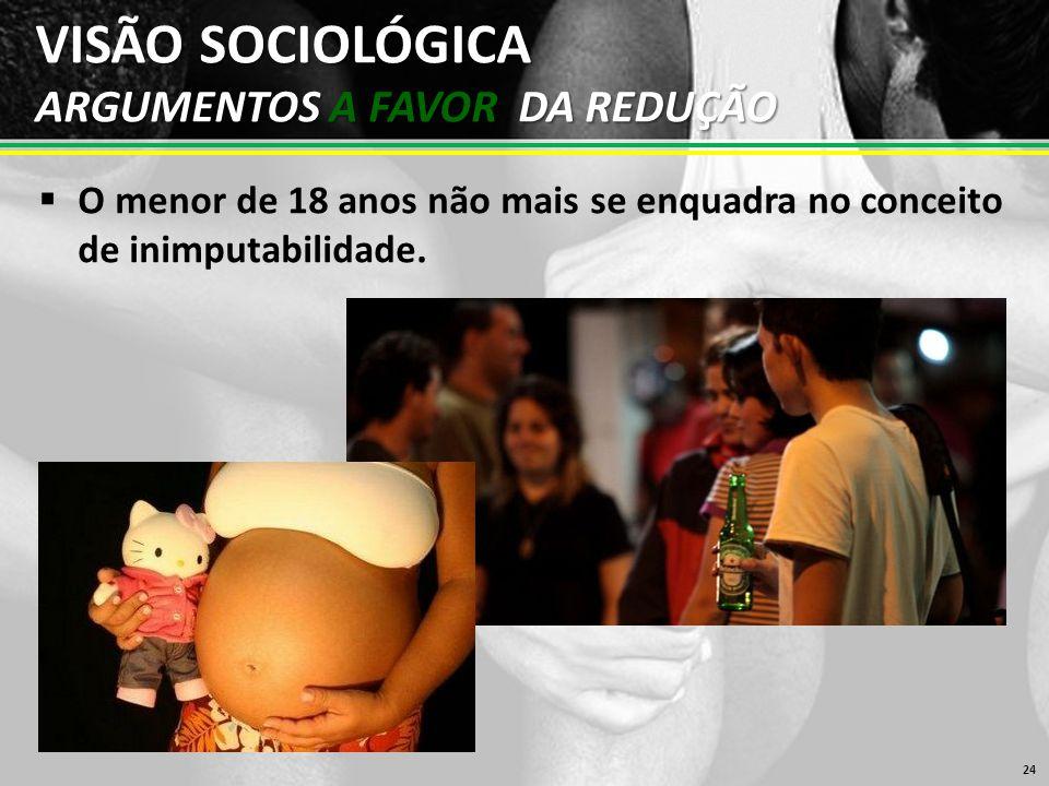 VISÃO SOCIOLÓGICA ARGUMENTOS A FAVOR DA REDUÇÃO  O menor de 18 anos não mais se enquadra no conceito de inimputabilidade.