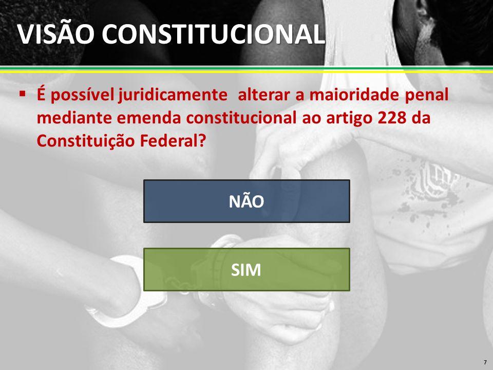 VISÃO CONSTITUCIONAL  É possível juridicamente alterar a maioridade penal mediante emenda constitucional ao artigo 228 da Constituição Federal.
