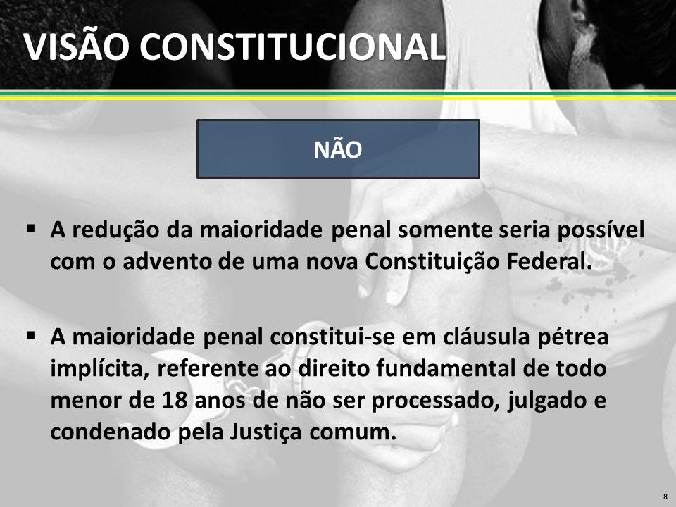 VISÃO CONSTITUCIONAL  A redução da maioridade penal somente seria possível com o advento de uma nova Constituição Federal.