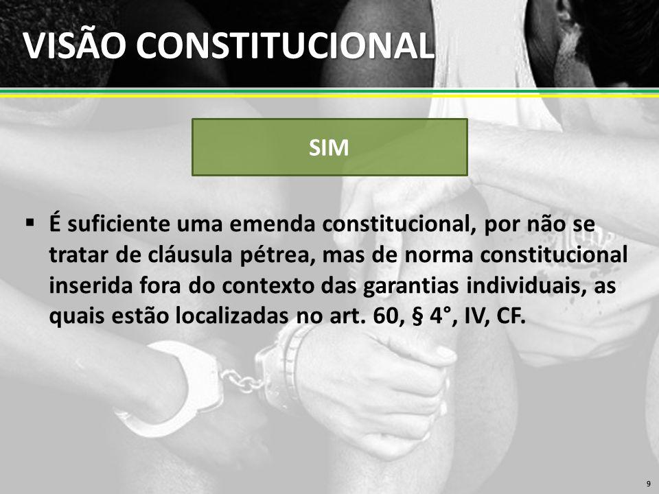 VISÃO CONSTITUCIONAL  É suficiente uma emenda constitucional, por não se tratar de cláusula pétrea, mas de norma constitucional inserida fora do contexto das garantias individuais, as quais estão localizadas no art.