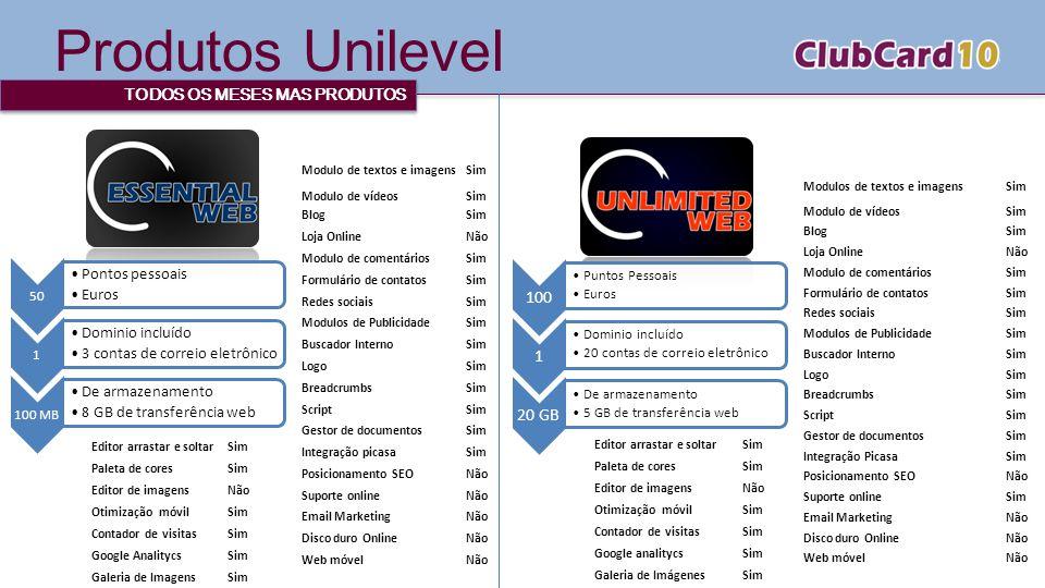 Produtos Unilevel TODOS OS MESES MAS PRODUTOS 50 Pontos pessoais Euros 1 Dominio incluído 3 contas de correio eletrônico 100 MB De armazenamento 8 GB