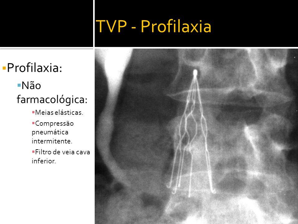 TVP - Profilaxia  Profilaxia:  Não farmacológica:  Meias elásticas.  Compressão pneumática intermitente.  Filtro de veia cava inferior.