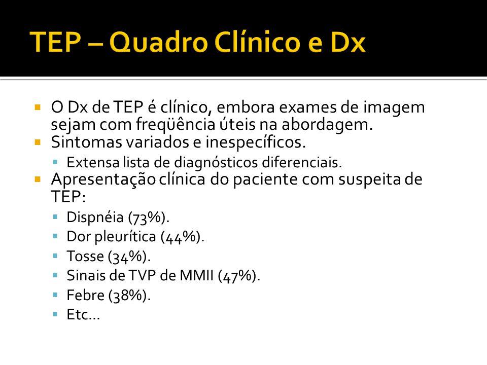  O Dx de TEP é clínico, embora exames de imagem sejam com freqüência úteis na abordagem.  Sintomas variados e inespecíficos.  Extensa lista de diag
