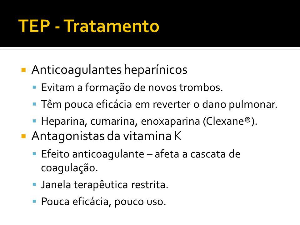  Anticoagulantes heparínicos  Evitam a formação de novos trombos.  Têm pouca eficácia em reverter o dano pulmonar.  Heparina, cumarina, enoxaparin
