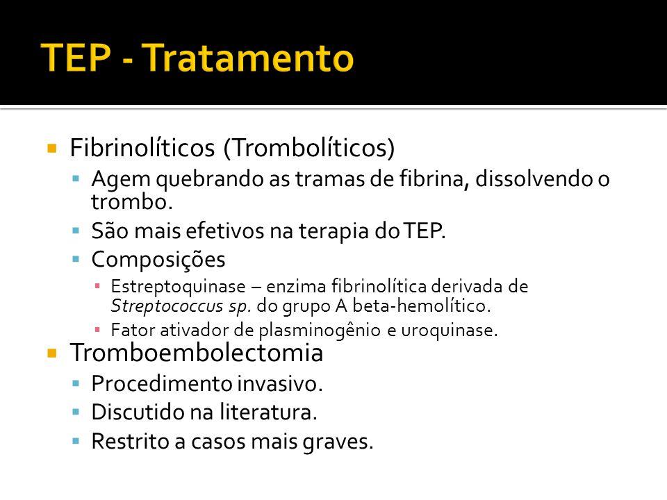  Fibrinolíticos (Trombolíticos)  Agem quebrando as tramas de fibrina, dissolvendo o trombo.  São mais efetivos na terapia do TEP.  Composições ▪ E