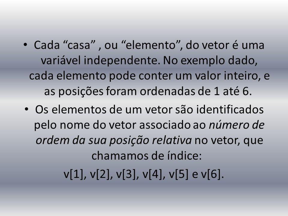 """Cada """"casa"""", ou """"elemento"""", do vetor é uma variável independente. No exemplo dado, cada elemento pode conter um valor inteiro, e as posições foram ord"""