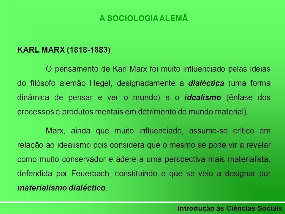 Introdução às Ciências Sociais A SOCIOLOGIA ALEMÃ KARL MARX (1818-1883) O pensamento de Karl Marx foi muito influenciado pelas ideias do filósofo alem