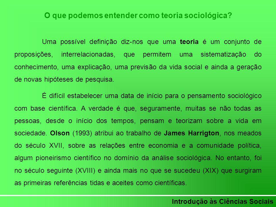 Introdução às Ciências Sociais O que podemos entender como teoria sociológica? Uma possível definição diz-nos que uma teoria é um conjunto de proposiç